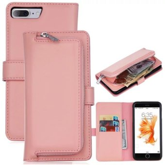 PU Leather Wallet Case Cover Pouch Bag for Apple iPhone 7 Plus (Pink) - intl