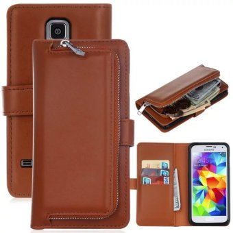 PU Leather Wallet Case Cover Pouch Bag for Samsung Galaxy S5(Brown) - intl