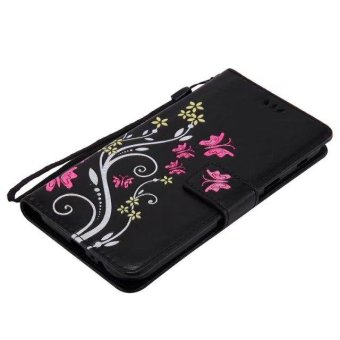 PU Leather Wallet Phone Cases For Samsung Galaxy A7 2017 EmbossingCover For Galaxy A720 Flip Wallet Bags (Black) - intl - 4