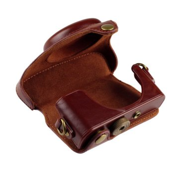 PU Protective Leather Camera Case Bag Pouch for Sony RX100III with Strap Coffee - 4