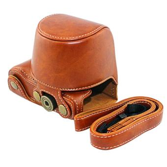 PU Protector Cover Case Bag Shell Camera Accessory with ShoulderStrap for Sony A5000 A5100 Nex 3N Brown - intl