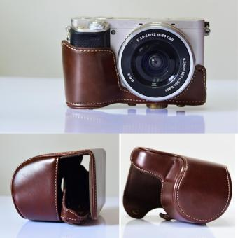 PU Protector Cover Case Bag Shell Camera Accessory with ShoulderStrap for Sony A6000 A6300 NEX-6 Coffee - intl - 5