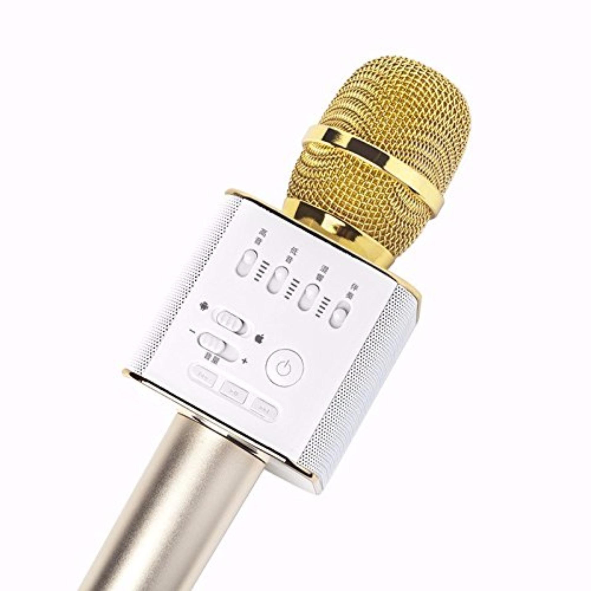 Philippines Q9 Wireless Bluetooth Karaoke Microphone Speaker Mic Player Mobile Mini Ktv Usb White Gold