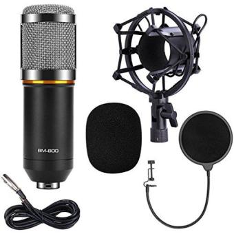 Qibox Bm-800 Pro Condenser Microphone Mic For Studio BroadcastingAnd Recording With Shock Mount- Xlr Cable And Pop Filter- 3.5mm-Black