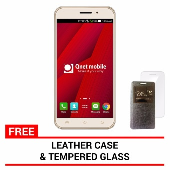 QNET Mobile Jomax 8GB (Gold) with FREE Leather Case and Tempered Glass