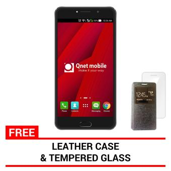 QNET MOBILE LINX 4GB (Black) with FREE Leather Case and Tempered Glass