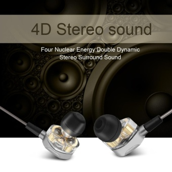 Quad-Core Dual Dynamic Driver In-ear Earphones Wired Heasets Stereo Sound Headphones with Mic - intl Price Philippines