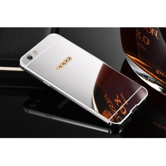 Quality Aluminum Metal Frame Plating Mirror case for OPPO A57(silver) - intl
