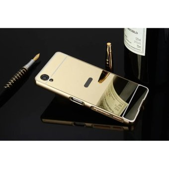 Quality Aluminum Metal Frame Plating Mirror case for Sony Xperia XA Ultra(gold) - intl