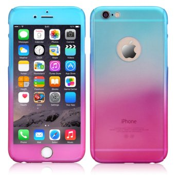 Rainbow 360 Full Protection TPU/PC Matte Cover Case with Tempered Glass Screen Protector For Apple iPhone 6/6s 4.7 (Blue/Pink)