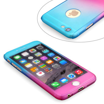 Rainbow 360 Full Protection TPU/PC Matte Cover Case with Tempered Glass Screen Protector For Apple iPhone 6/6s 4.7 (Blue/Pink) - picture 2