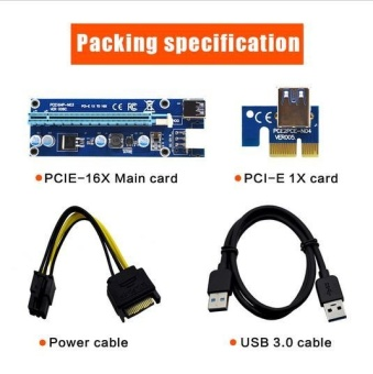 (Ready Stock) 5PCS VER006C Blue PCI-E Extender 1x to 16x PCI Express Riser Card 60cm USB 3.0 Cable SATA to 6Pin IDE Power for BTC Miner - intl