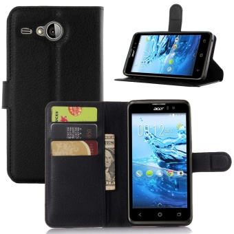 [Ready Stock] SZYHOME Phone Cases For Acer Liquid Z520 Luxury RetroLeather Wallet Flip Cover Solid Color Shell ( Black ) - intl