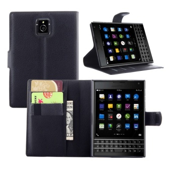 [Ready Stock] SZYHOME Phone Cases For BlackBerry Passport Q30 Luxury Retro Leather Wallet Flip Cover Solid Color Shell ( Black ) - intl