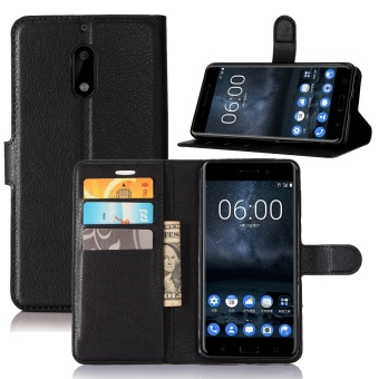 [Ready Stock] SZYHOME Phone Cases For Nokia 6 Luxury Retro LeatherWallet Flip Cover Solid Color Shell ( Black ) - intl