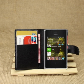 [Ready Stock] SZYHOME Phone Cases For Nokia Asha 503 Luxury RetroLeather Wallet Flip Cover Solid Color Shell ( Black ) - intl