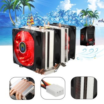 Red LED 3 CPU Cooling Cooler Fan Heatsink for AMD AM2/2+ AM3 IntelLGA 1156 - intl Price Philippines