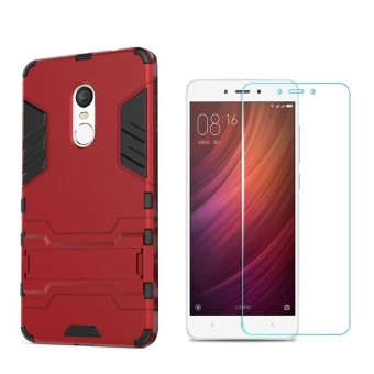 RedMI Note4X Armour Hard Plastic Phone Case+Anti Blue-Ray EyeProtect Tempered Glass / Anti falling Phone Shell/Shockproof Phonecover /Phone Protector for Xiaomi Redmi Note 4X(Snapdragon version)- intl