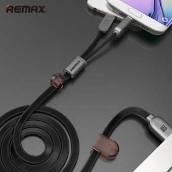 Remax Dual Heads IOS Micro USB Mobile Phone Data Fast Charge Cable2.1A for IOS Android Phone(100cm) - intl Price Philippines