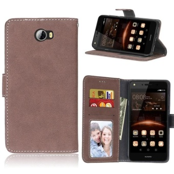 Retro Frosted PU Leather Flip Case for Huawei Y5 II/Huawei Y5 2(Brown) - intl