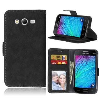Retro Frosted PU Leather Flip Case for Samsung Galaxy Grand Neo I9060/Neo Plus GT-I9060I/Duos i9082 (Black) - intl