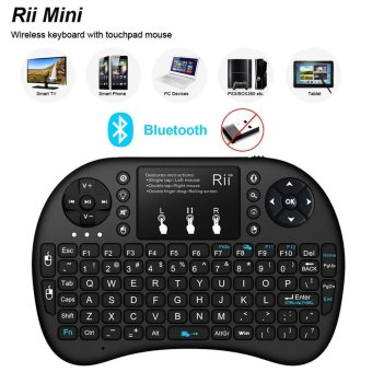 RII Mini I8+ BT Bluetooth Wireless Touchpad Keyboard with Backlight for Computer Laptop Tablet Phone - Black - intl