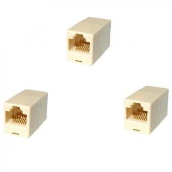 RJ45 Cat 5e Crossover Converter Adapter / Coupler Converts PatchCables To Crossover Set of 3