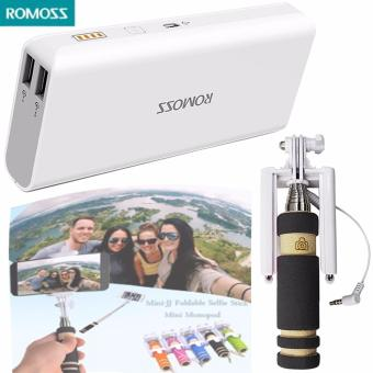 Romoss Sense 4 10400mAh Power Bank (White) with Mini JJ foldableSelfie Stick (Black)