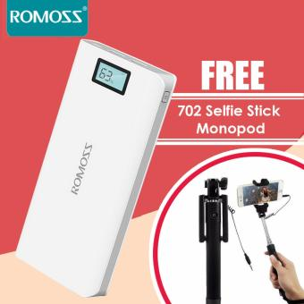 Romoss Sense 6 Plus 20000mAh LCD Display Dual Port Power Bank (White) with FREE 702 Selfie Stick Monopod