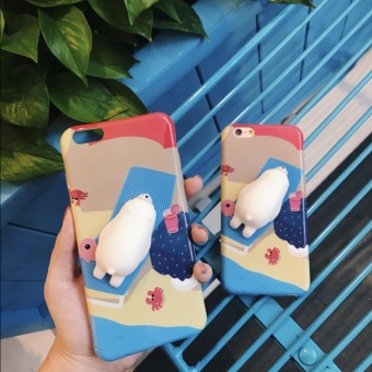 "Rosu Squishy Cute 3D Silicone Polar Bear Phone Case for iPhone 6 6S(4.7"") Price Philippines"