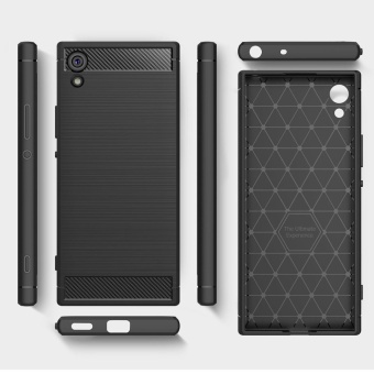 Rugged Armor Case For Sony Xperia XA1 Carbon Fiber Resilient DropProtection Anti-Scratch Cover Grey - intl - 2
