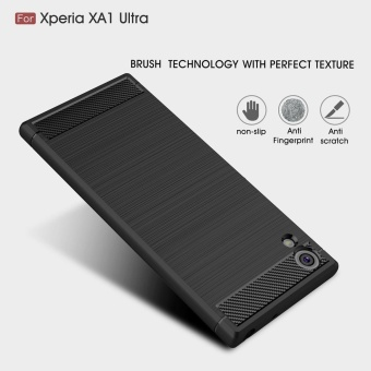 Rugged Armor Case For Sony Xperia XA1 Ultra Carbon Fiber Resilient Drop Protection Anti-Scratch Cover Black - intl - 4