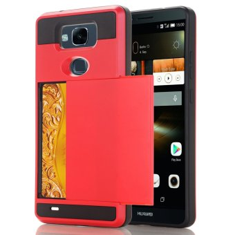 RUILEAN Case For Huawei Mate 7 Dual Layer TPU +PC Shockproof CardSlot Protective Cover Red - intl