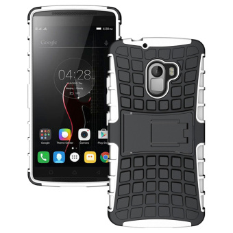 RUILEAN Hybrid Armor Tough Rugged TPU + PC Dual-Layer Kickstand Case for Lenovo K4 Note A7010 (White)