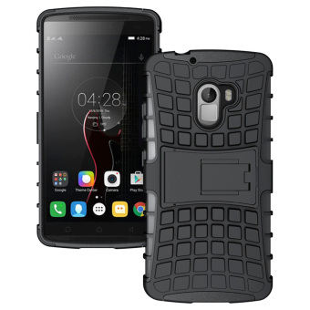 RUILEAN Hybrid Armor Tough Rugged TPU + PC Dual-Layer KickstandCase for Lenovo K4 Note A7010 (Black)
