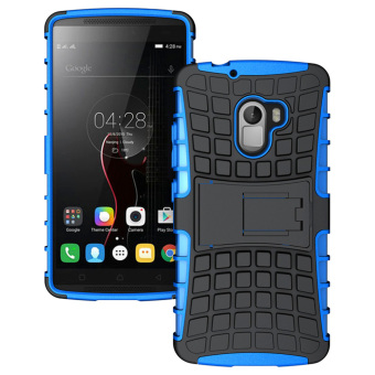 RUILEAN Hybrid Armor Tough Rugged TPU + PC Dual-Layer KickstandCase for Lenovo K4 Note A7010 (Blue)
