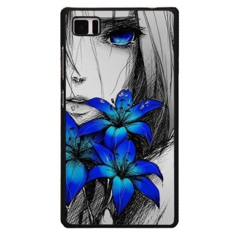 Sad Girl With Blue Flowers Phone Case for XiaoMi Mi 4 (Black)