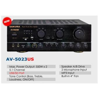 Sakura AV-5023US 2 X 550W 5.1 Channel Karaoke MP3 Amplifier (Black) - 2