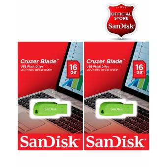 Sandisk 16GB Cruzer Blade USB 2.0 Flash Drive GREEN SET OF 2