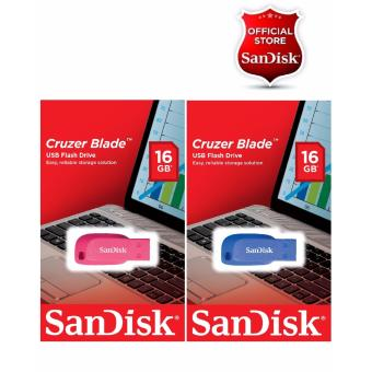 Sandisk 16GB Cruzer Blade USB 2.0 Flash Drive SET OF 2(BLUE,PINK)COUPLES Drive
