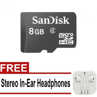 SanDisk Class 6 8GB MicroSD Memory Card (Black) with Free StereoIn-Ear Headphones (White)