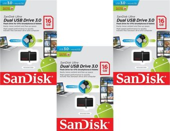 SanDisk Ultra Dual USB Drive 3.0 SDDD2-016G 16GB OTG USB 3.0 Flash Drive (Black) Set of 3