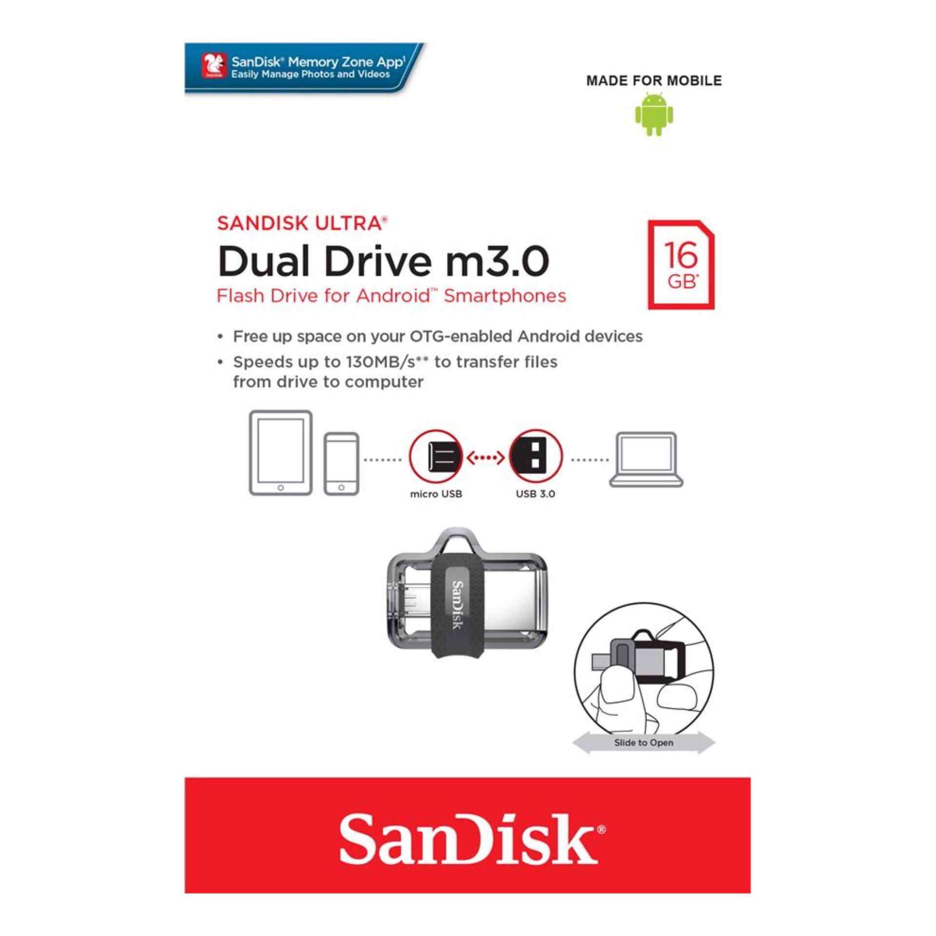 Philippines Sandisk Ultra Sddd3 016g 16gb Otg Dual Usb Drive M3 Flasdisk M30 Translucent