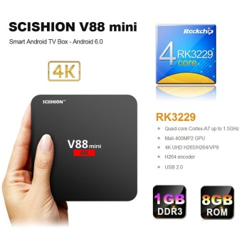 SCISHION V88 mini Smart Android TV Box Android 6.0 Rockchip 3229 Quad Core UHD 4K VP9 H.265 Mini PC 1G / 8G DLNA WiFi LAN HD Media Player EU Plug - intl Price Philippines