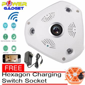 Seagate 360 Degree Panorama CCTV Camera Wifi 960p HD Wireless VR IP Camera Remote Control Surveillance Camera P2P Indoor Cam With Free Hexagon  Charging Switch Socket