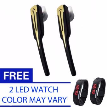 SET OF 2 MH 2000 Bluetooth V4.1 Headset (Black)with Free 2 LEDWatch Color May Vary Price Philippines