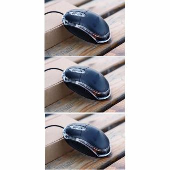 SET OF 3 USB 2.0 Pro Office Mouse for Lenovo M20 Wired MouseOptical Mice for Computer PC High Quality Pro Gaming Mouse (Black)