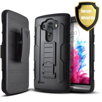 Shockproof Heavy Duty Protection Hybrid Full Body Rugged Case Rubber Dual Layer Holster Cover for LG G3 with Kickstand - intl