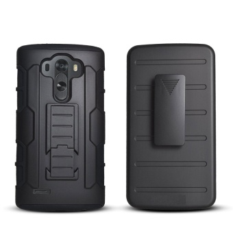 Shockproof Heavy Duty Protection Hybrid Full Body Rugged Case Rubber Dual Layer Holster Cover for LG G3 with Kickstand - intl - 3