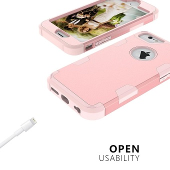 Shockproof Hybrid Silicone Rubber Protective Hard Case Cover for Apple iPhone 6s Plus Rose Gold - intl - 3